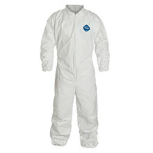 DuPont DPPTY125SWHLG00 Large White Safespec 2.0 5.4 mil Tyvek Disposable Coveralls With Front Zipper Closure, Collar, Elastic Waist, Set Sleeves, Elastic Ankles And Elastic Wrists