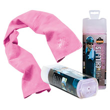 "Ergodyne E5712442 13"" X 29 1/2"" Pink Chill-Its 6602 PVA Evaporative Cooling Towel"