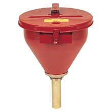 Justrite Manufacturing Red Steel Drum Funnel 6in Brass Flame 8207