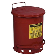 Justrite JTR09300 10 Gallon Red Galvanized Steel Oily Waste Can With Foot Lever Opening Device