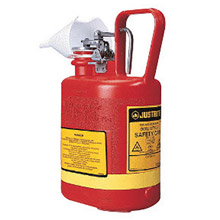 Justrite JTR14160 1 Gallon Red Polyethylene Type I Non-Metallic Oval Safety Can With Stainless Steel Hardware