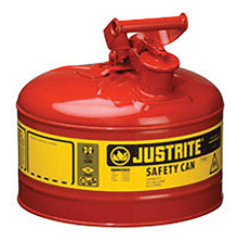 "Justrite JTR7125100 2 1/2 Gallon Red Galvanized Steel Type I Safety Can With 3 1/2"" Stainless Steel Flame Arrester And Self-Closing Lid"
