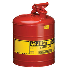 "Justrite JTR7150100 5 Gallon Red Galvanized Steel Type I Safety Can With 3 1/2"" Stainless Steel Flame Arrester And Self-Closing Lid"