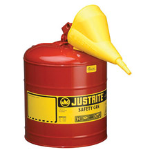 "Justrite JTR7150110 5 Gallon Red Galvanized Steel Type I Safety Can With 3 1/2"" Stainless Steel Flame Arrester, Self-Closing Lid And Polypropylene Funnel"