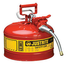 "Justrite JTR7225120 2 1/2 Gallon Red AccuFlow Galvanized Steel Type II Vented Safety Can With Stainless Steel Flame Arrester And 5/8"" Metal Hose"