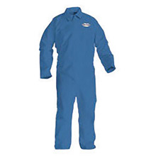 Kimberly-Clark Professional K4545233 Large Denim Blue KLEENGUARD A60 Microporous Film Laminate Disposable Breathable Bloodborne Pathogen And Chemical Splash Protection Coveralls With Front Zipper Closure