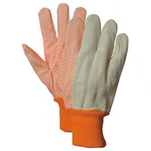 Majestic String Gloves 10Oz Cotton Clute Cut Orange Dot 3405HV_10