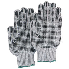 Majestic String Gloves 2 Side Dotted Knit Grey 3829G