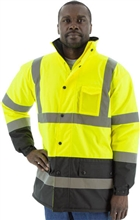Majestic Rainwear Parka Lined Hi Vis Yellow/Black Class 3 75-1303