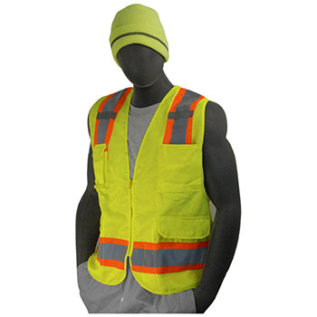 Majestic Heavy Duty Surveyor Vest Mesh Bk Ylw Dot Cl2 75-3223