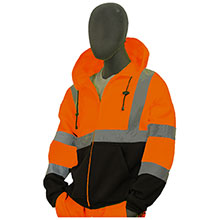 Majestic Fleece Jckt Hood HV Orange Blk Cl3 75-5326