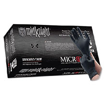 Microflex Medical Gloves Medium Black 9.6in MidKnight 4.7 mil Nitrile MK-296-M