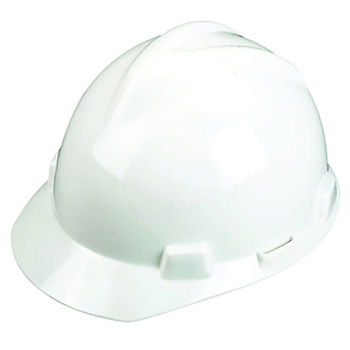 MSA MSA10057441 White Class E Type I V-Gard Polyethylene Slotted Style Hard Cap With 1-Touch Suspension