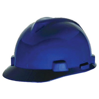 MSA MSA10057442 Blue Class E Type I V-Gard Polyethylene Slotted Style Hard Cap With 1-Touch Suspension