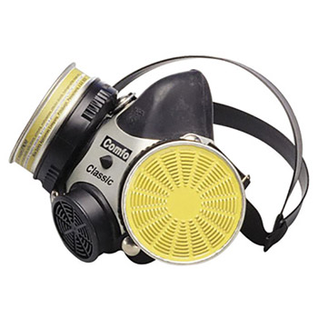 MSA MSA808074 Medium Black Hycar Rubber Comfo Classic Full Mask Dual Cartridge Respirator, Per Ea