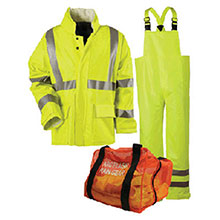 National Safety Apparel Rainwear Large Hi Visibility Yellow Guard 10 KITRLLGC3