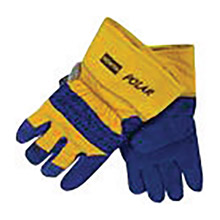 North by Honeywell NOS70/6465NK Men's Large Blue And Yellow Polar Split Cowhide Thinsulate Lined Gunn Cut Cold Weather Gloves With Wing Thumb, Safety Cuff And Knit Wrist