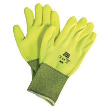 North by Honeywell NOSNF11HVY/9L Size 9 NorthFlex Neon 15 Gauge Abrasion Resistant Hi-viz Yellow PVC Palm Coated Work Gloves With Hi-Viz Yellow Nylon Liner And Knit Wrist