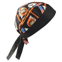 OccuNomix OCCTN5-MOT Motorcycle Tuff Nougies 100% Cotton Doo Rag Tie Hat With Plastic Hook Closure And Holographic Hangtag