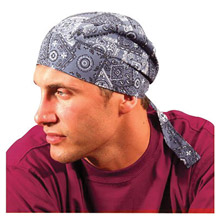 OccuNomix OCCTN6-CBL Cowboy Blue Tuff Nougies 100% Cotton Deluxe Doo Rag Tie Hat With Elastic Rear Band