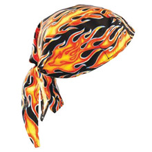 OccuNomix OCCTN6-FLA Big Flames Tuff Nougies 100% Cotton Deluxe Doo Rag Tie Hat With Elastic Rear Band