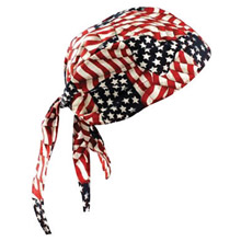 OccuNomix OCCTN6-WAV Wavy Flag Tuff Nougies 100% Cotton Deluxe Doo Rag Tie Hat With Elastic Rear Band