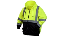 Pyramex Hi-Vis Lime Zipper Sweatshirt with Black Bottom, 100% Polyester