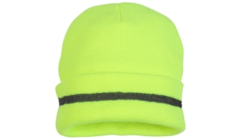 Hi-Vis Lime Non-Rated Knit Cap With Refective Stripping