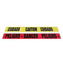 "Radnor RAD64055724 3"" X 1000' Yellow 2 Mil Bilingual Barricade Tape ""Caution Cuidado"""