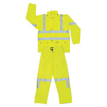 Radnor RCR5182LRiver City Garments Large Fluorescent Lime Luminator .4000 mm Polyester And Polyurethane Flame Resistant 2 Piece Rain Suit With 3M Reflective Stripe