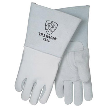 John Tillman & Co Welders Gloves Large Pearl Gray 14in Top Grain Elk Cotton Foam 750XL