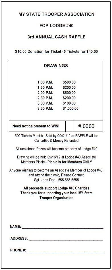 Vertical Jumbo Raffle Ticket