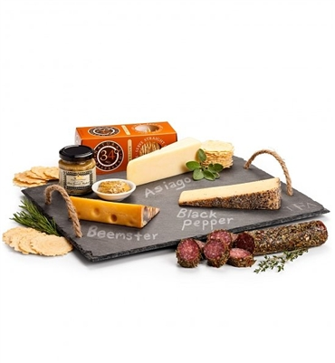 Artisan Cheeses on Personalized Slate