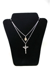 Mother Mary Color Cross-Medal Necklace