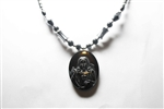Hematite Necklace with Sacred Heart of Jesus