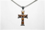 Gemstone Tiger Eye Yellow Cross with Chain
