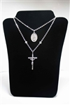 Ouf Lady of Guadalupe Cross-Medal Necklace with Swarovski Elements