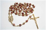 Apple Jasper Gemstone Gold Toned Rosary