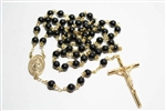 Black Onyx Gemstone Gold Toned Rosary