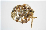 Pyrite Quartz Gemstone Gold Toned Rosary