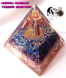 SUPER TRIPPLE Nubian Orgone Nibiru, Lapis, Rose quartz, Amethyst, STERLING SILVER  Pyramid - Calms the home and nervous system