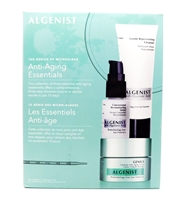 Algenist Anti-Aging Essentials: Gentle Rejuvenating Cleanser 1.5 Fl Oz., Concentrated Reconstructing Serum .5 Fl Oz., Genius Ultimate Anti-Aging Cream 1 Fl oz.