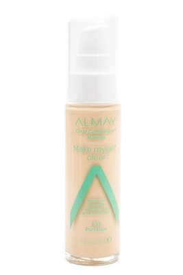 Almay CLEAN COMPLEXION Makeup, Make Myself Clear Maximum Strength Acne Treatment, 99 Porcelain  10. fl oz