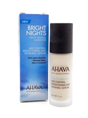 Ahava Bright Nights Night Mineral Makeover Renewal Serum   1 fl oz