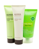 Dead Sea Hand Cream Set by AHAVA: Dead Sea Water Mineral Prickly Pear & Moringa  1 fl oz, Dead Sea Water  1 fl oz, Dead Sea Naturals Aloe Vera  1.3 fl oz