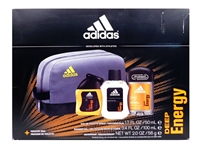 adidas Deep Energy Gift Set: Eau De Toilette 1.7 Fl Oz., Shower Gel 3.4 Fl Oz., Deodorant 2 Oz., Toiletry Bag