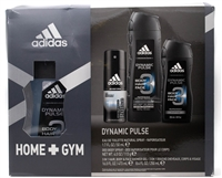 Adidas HOME+GYM Dynamic Pulse For Men 4 pc Set;  Eau de Toilette Natural Spray  1.7 fl oz, Deodorant Body Spray 4 fl oz,. 3 In 1 Hair Body & Face Shower Gel 16 fl oz and 8.4 fl oz