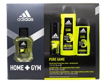 Adidas HOME+GYM Pure Game For Men 4 pc Set; Eau de Toilette Natural Spray 1.7 fl oz, Deodorant Body Spray 4 fl oz, 3 In 1 Hair, Body & Face Shower Gel 16 fl oz and 8.4 fl oz