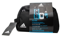 Adidas ICE DIVE Set: 3 in 1 Hair Body & Face Shower Gel 8.4, Eau de Toilette 1.7 Oz, Deo Body Spray 4 Oz, Toiletry Bag