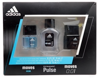 adidas Dynamic Pulse and Moves Set:  Moves Him Eau de Toilette Spray  .05 fl oz,  Dynamic Pulse Eau de Toilette Spray 1.7 fl oz,  Moves 0:01 Eau de Toilette Spray  .5 fl oz
